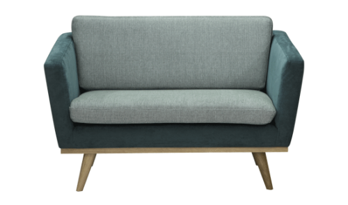 Sofa fifties 120cm velour bl celadon beau marche for Sofa exterior 120 cm