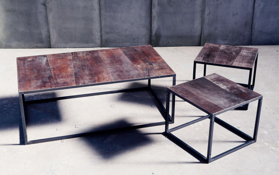 Coffee Table Leather : Metal