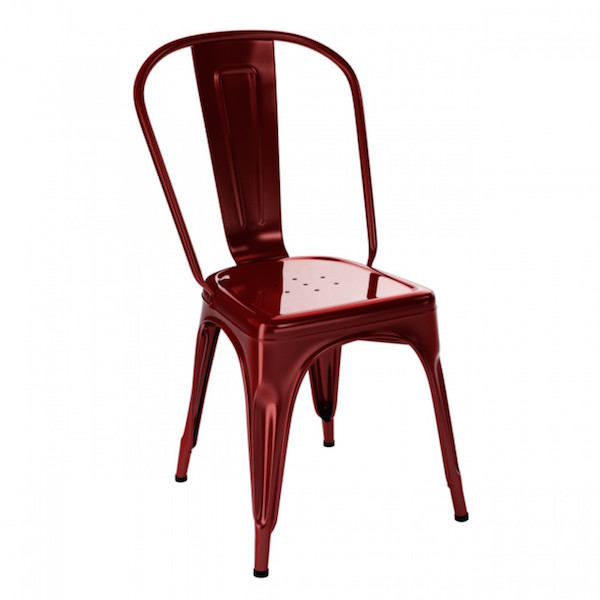 Tolix chaise A rouge glacis