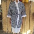 Kimono hvid blå
